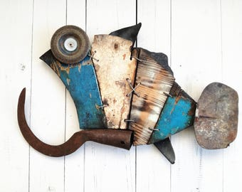 Wall Art - Fish made of recycled boatwood - Made in Italy