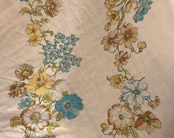 Vintage Full Sized Queen Flat Sheet Brown and Blue Flowers Floral
