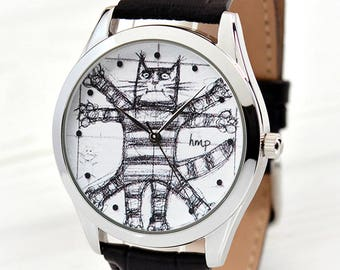 Vitruvian Cat Leather Watch | Unique Gift | Cat Lover Gift | Women's Gifts | Girlfriend Gift | Brother Gift | FREE SHIPPING