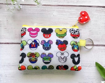 I spy Disney icons zipper pouch, card wallet, makeup bag, pencil pouch, eco friendly, choose your size