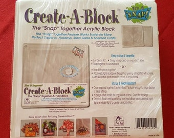 "Create-A-Block 8"" x 8"" Acrylic Block that snaps together"
