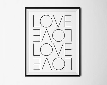 Love print, Love art, Love poster, Love printable, Love digital print, Love wall print, Love wall art, Printable Wall Decor, Bedroom art