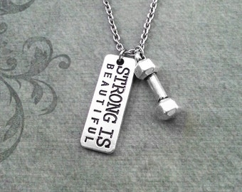 Strong Is Beautiful Necklace VERY SMALL Dumbbell Necklace Dumbbell Jewelry Exercise Gift Exercise Necklace Workout Gift Weight Loss Gift