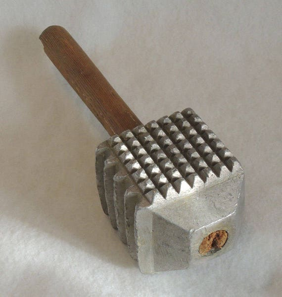 Vintage Giant 1.5 Pound Four Sided Aluminum Head Wood Handle Meat Tenderizer