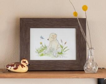 Puppy Nursery Art, Yellow Lab Print, Yellow Lab Art, Labrador Art, Nursery Decor, Children's Wall Art, Dog Nursery, Kid's Puppy Art Lab Gift