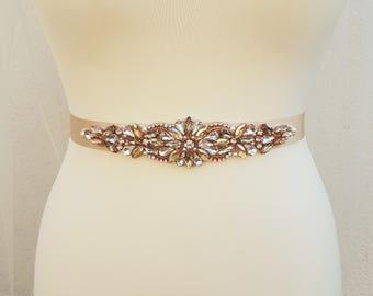 Champagne bridal belt, Rose gold belt, bridal belt, champagne sash, rose gold bridal belt, wedding belt, rhinestone belt, champagne belt