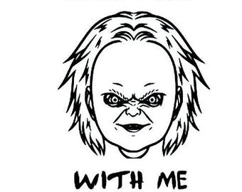 Chucky Face Come Play With Me vinyl decal sticker