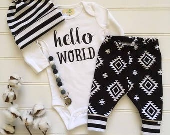 BEST SELLER! Black and White Tribal/Newborn Outfit/Bring Home Outfit/Toddler Joggers