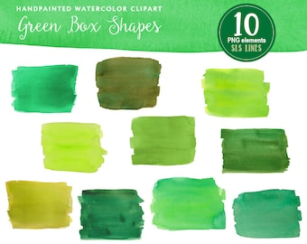Green watercolor boxes and rectangles, watercolor clipart square shapes green, graphic set PNG files, instant download