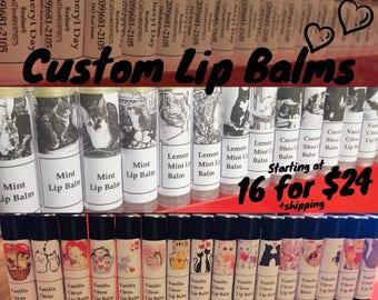 16 Custom Made Lip Balms