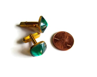 Emerald Green Cuff Links Swank Glass Jelly Belly 1940s