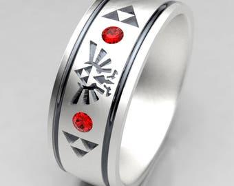 Zelda Wedding Ring, Mens Zelda Silver Wedding Band with Ruby, Size 9 Ring, Size 10 ring, Legend of Zelda Geek Mens Ruby Wedding Ring