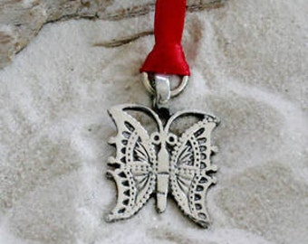 Pewter Butterfly Christmas Ornament and Holiday Decoration (22D-KC)