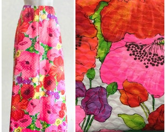 60s or 70s a line quilted maxi skirt