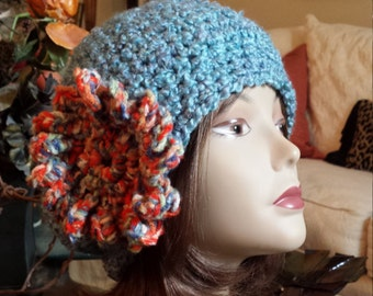 Winter hat with flower designed and made by petronella by pet