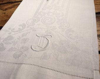 """Vintage monogrammed """"J"""" linen towel white damask crochet trim ends antique"""