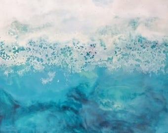 """Teal Waves; Original Encaustic Seascape; Encaustic Art; Encaustic Painting; 8"""" x 6 1/2"""" painting in 12"""" x 10"""" frame"""