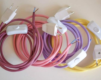 2 meters textile cables with switch and plug