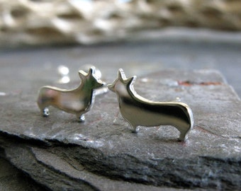Corgi earrings. Dog silhouette jewelry. Sterling silver, 14k gold filled or solid 14k gold.  Pembroke Welsh Corgi. Cute dog lover gift.