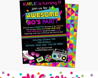 80s Birthday Party Invitations - 1980s Party Printable Invite - Teen Birthday Party Invitation - NEON Rainbow Roller Skate Invitation