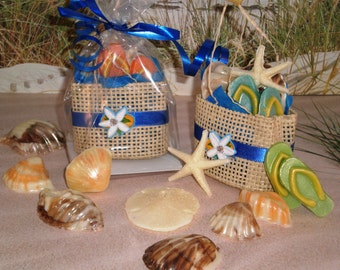 Twelve Beach Bag Chocolate Seashell Favors