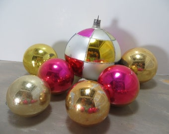 Vintage Christmas Tree Ornaments Glass Ornaments Shiny Brite Ornaments Gold and Pink Holiday Decor Mercury Glass Ornaments