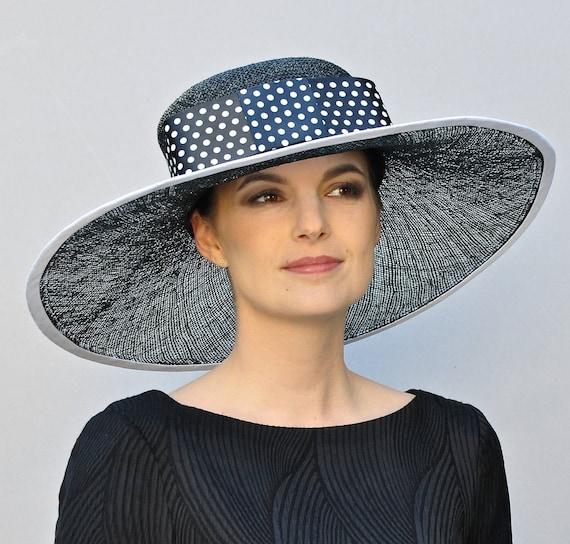 Black and White Hat, Polka Dot Hat, Church Hat, Wedding Hat, Derby Hat, Formal Hat, Wide Brim Hat