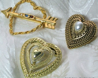 Hearts Lot 3 Vintage Brooches Wedding Pendant Pins Valentines Day Ornate Signed Rhinestones Layered High Relief Pearl Pretty Love Scarf Bold