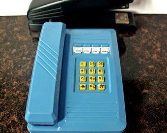 Vintage Toy Phone, Push Button Phone, Toy Woods, Desk Telephone, Blue Ringing Phone, Kid's Toy, Ringing Cordless, Office Pretend Phone