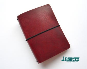 A6 Traveler's notebook Red leather - midori like- fauxdori