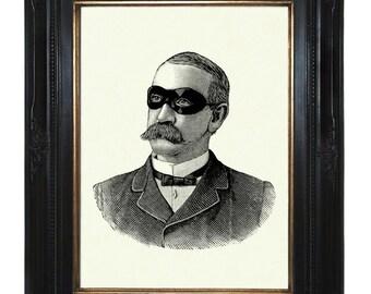 Masked Victorian Gentleman Steampunk - Art Print Portrait Mask Mustache mustachioed Frock
