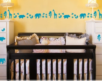 Safari Animals Nursery Decor, Baby Nursery Zoo Animals Decal Border Wall Decor, Elephant Decor, Giraffe Decor, Hippo Decor, Vinyl Wall Decal