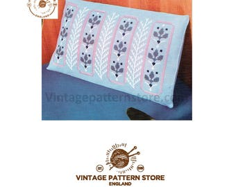 1970s Ferns and leaves embroidered rectangular cushion cover - Vintage PDF Pattern 480