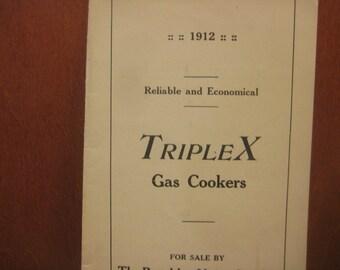 Triples Gas Cooker Original Vintage Brochure, 1912, RARE