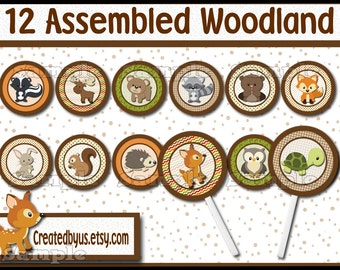 Woodland Cupcake Topper Woodland Baby boy shower Decorations Woodland Birthday party favor cupcake pick cake topper cupcake top 12 assembled