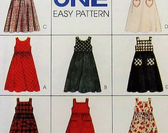 Girl's Jumper Dress Sewing Pattern UNCUT McCalls 7788 Sizes 7-10