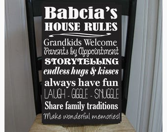 Babcia House Rules for Grandchildren with love Grandmother  Handpainted Wood Sign 16 x 10.5