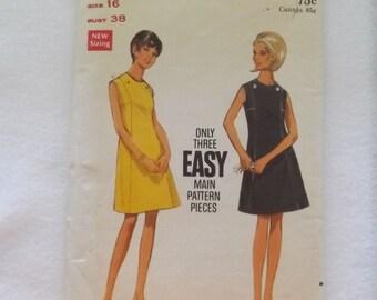 Butterick 4759,  Misses size 16 Vintage A-line dress. 1970's,  Easy basic dress