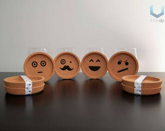 Emoji Coasters   Set of 4   Exclusive cork emoticon coasters
