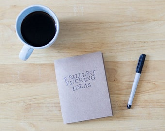 Brilliant F***ing Ideas Recycled cardboard notebook
