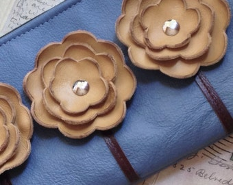Ready to Ship Slate Blue Mustard Leather Wristlet Clutch Small Purse Iphone Galaxy Cell Phone Brown Poppy Flowers with Key Fob