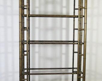 Vintage Faux Bamboo Bronzed Etagere Shelving Unit 1970u0027s