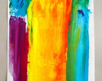 PYRO #2 - acrylic abstract painting  minimalist bold 12x16 neon fire edgy wall decor original art modern