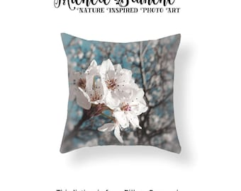 Apple Blossoms Photo Pillow, White Flower Blossom Photo Pillow case,  Spring Blooms Turquoise Sky Throw Pillow Cover, Branches and Blooms
