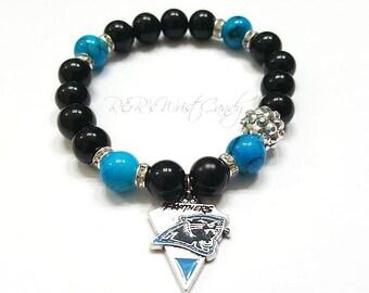 Carolina Panthers Bracelet, Beaded Bracelet,Football Bracelet, Charm Bracelet, Stretchy, Handmade, Custom Beaded Jewelry