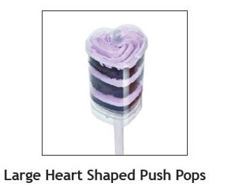 Heart Shaped Push Up Pop Containers with Lid - 100 count