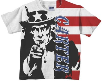 Patriotic T-Shirt, Personalized Boys Uncle Sam Flag Shirt