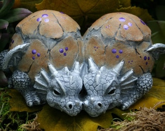 Baby Dragon Statue - Twin Baby Dragon Hatchlings - Concrete Art for Your Fairy Garden