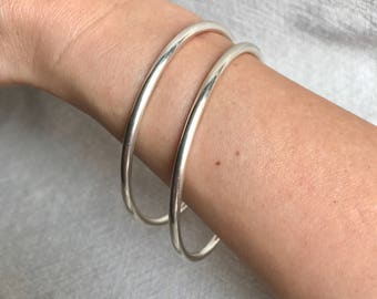Solid sterling silver bangles. Handmade.925.