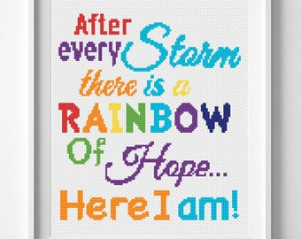 Baby cross stitch Rainbow cross stitch Unicorn cross stitch Nursery embroidery Counted xstitch Quote sampler Printable pattern Baby shower